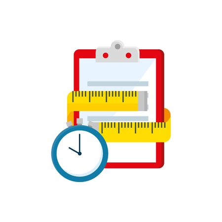 measuring tape with clipboard and chronometer vector illustration design