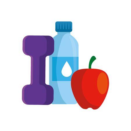 dumbbell with bottle water and apple vector illustration design Illustration