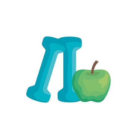fresh apple fruit with dumbbell isolated icon vector illustration design