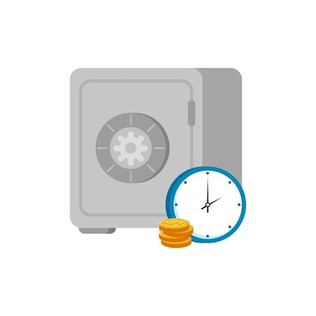 strongbox with clock and coins isolated icon vector illustration design