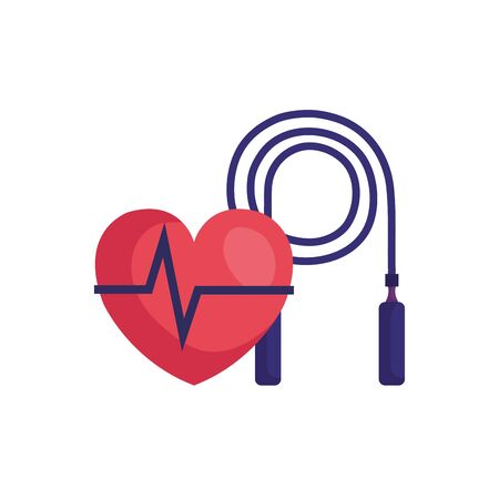 rope jump equipment with heart rate pulse vector illustration design Illustration