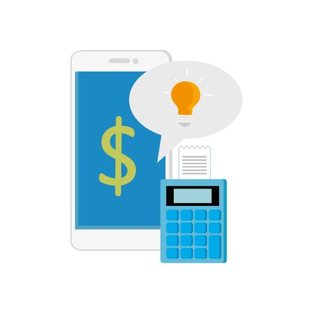 dataphone with smartphone and speech bubble vector illustration design