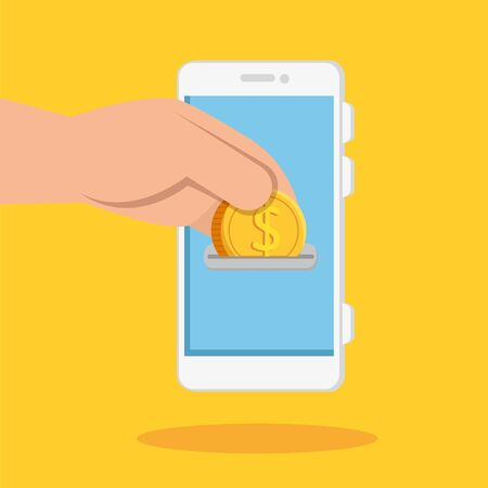 hand and smartphone with coin isolated icon vector illustration design