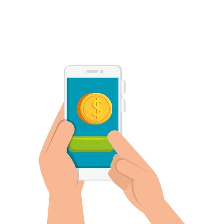 hands and smartphone with coin isolated icon vector illustration design