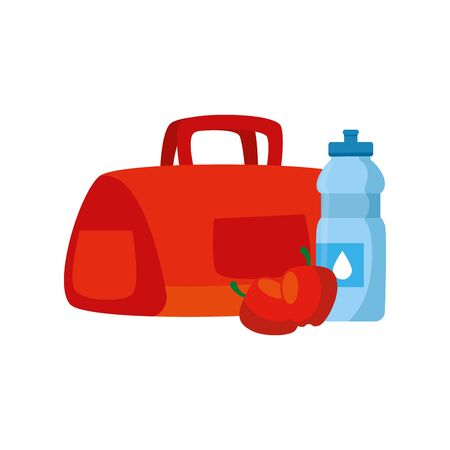 handbag gym with bottle water and apple vector illustration design Illustration