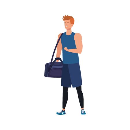 young man athlete with handbag gym avatar character vector illustration design