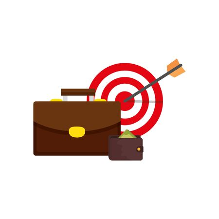 target with suitcase and wallet isolated icon vector illustration design