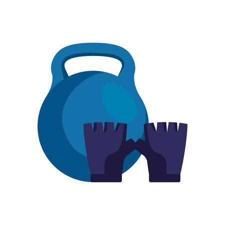 fingerless glove sport with dumbbell isolated icon vector illustration design