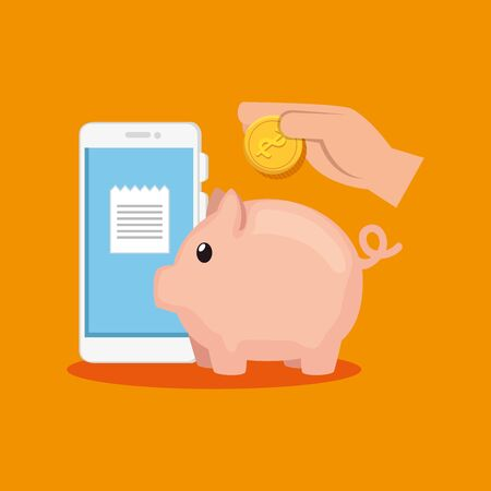 piggy bank with smartphone and hand vector illustration design