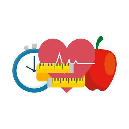 fresh apple with set icons gym vector illustration design Illustration