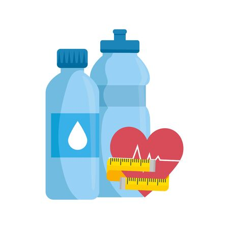 bottle water with heart and bottle water vector illustration design