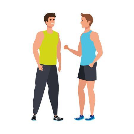 young men athlete avatar character vector illustration design