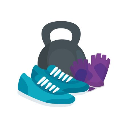 dumbbell with shoes of sport and fingerless gloves vector illustration design