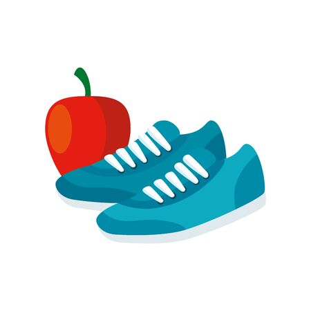 shoes of sport with apple fruit isolated icon vector illustration design 向量圖像