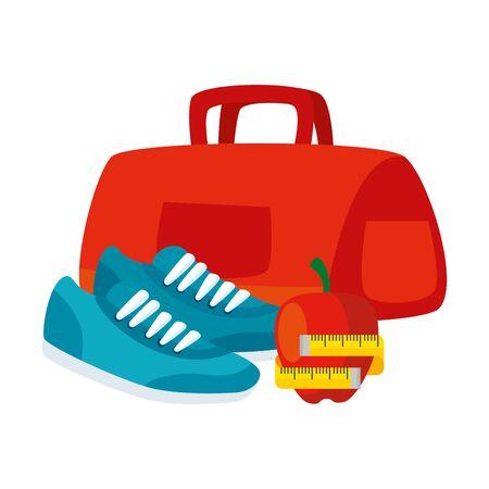 handbag gym with set icons vector illustration design Illustration