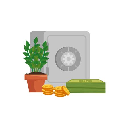 strongbox with plant and money isolated icon vector illustration design Illustration
