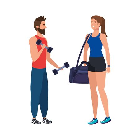 young couple athlete avatar character vector illustration design