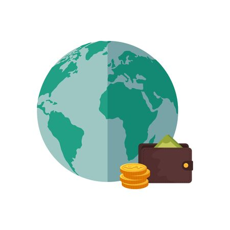 wallet with coins and planet earth vector illustration design