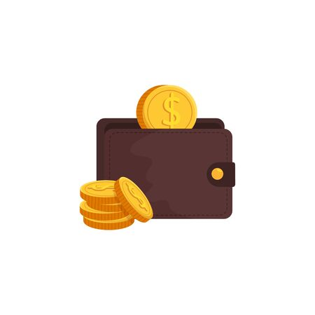 wallet with coins isolated icon vector illustration design