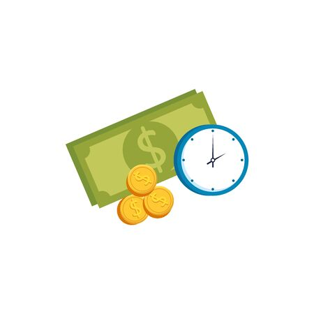 bill money with coins and clock isolated icon vector illustration design 向量圖像