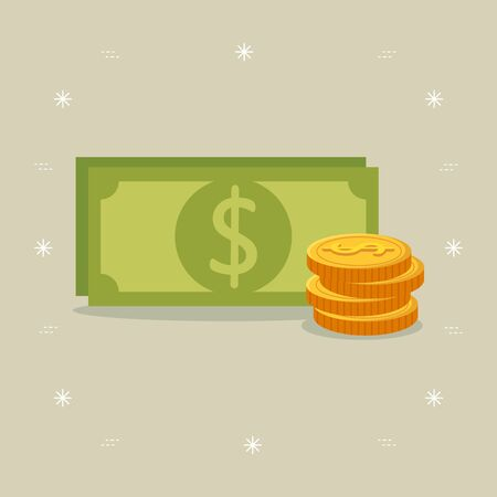 bill money with pile coins vector illustration design 向量圖像
