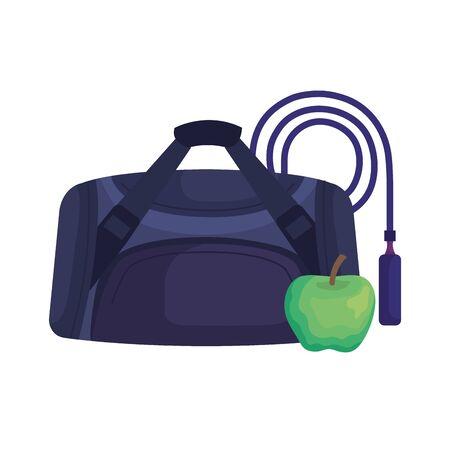 handbag gym accessory with icons vector illustration design Illustration