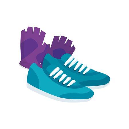 fingerless glove with shoes of sport vector illustration design Illustration