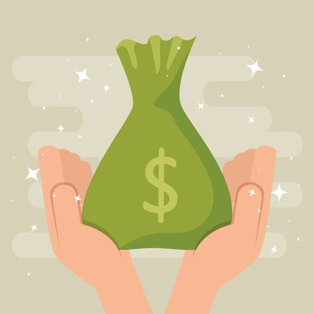 hands with money bag cash isolated icon vector illustration design
