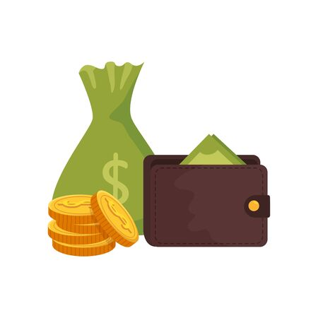 money bag with wallet and coins vector illustration design 向量圖像