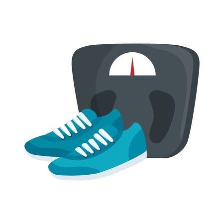 scale measure weight with shoes of sport vector illustration design
