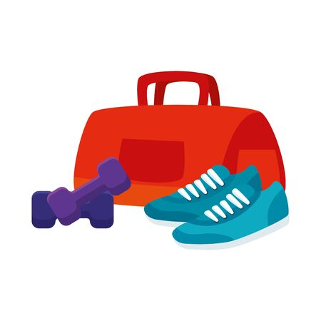 handbag gym accessory with shoes of sport and dumbbell vector illustration design