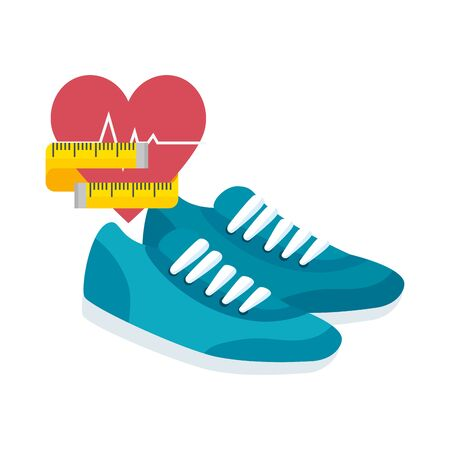 heart rate with shoes of sport isolated icon vector illustration design 向量圖像