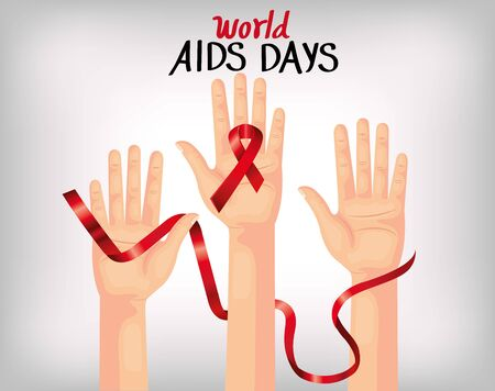 poster world aids day with hands and ribbon vector illustration design Ilustração