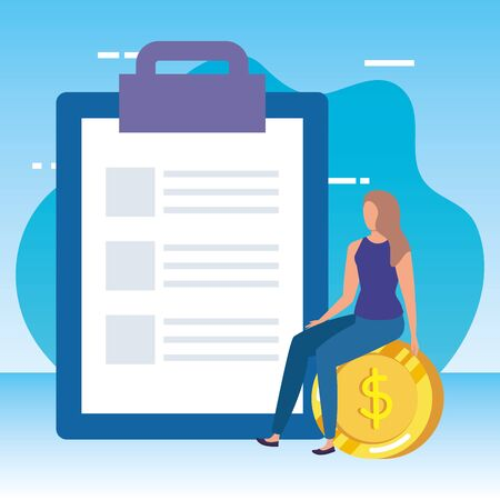 young woman with checklist and money vector illustration design Çizim