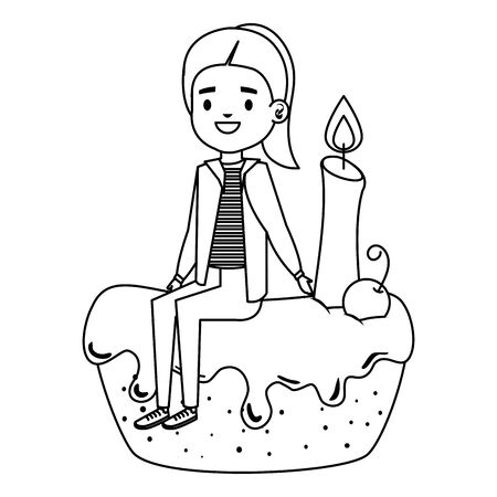 cute little girl seated in cake with candle vector illustration design Çizim