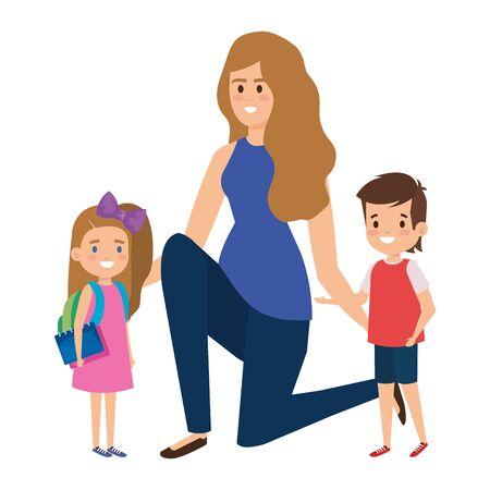 happy students kids with female teacher vector illustration design Illustration
