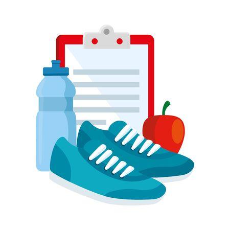 fresh apple with set icons gym vector illustration design Illusztráció