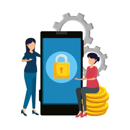 young women using smartphone with gears and coins vector illustration design
