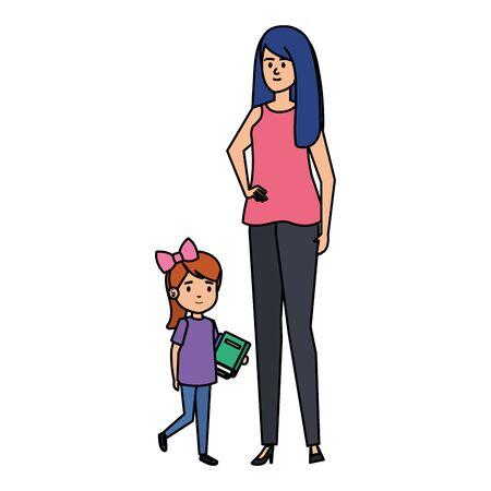 happy student girl with female teacher vector illustration design