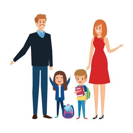 happy students kids with couple teachers vector illustration design Illustration