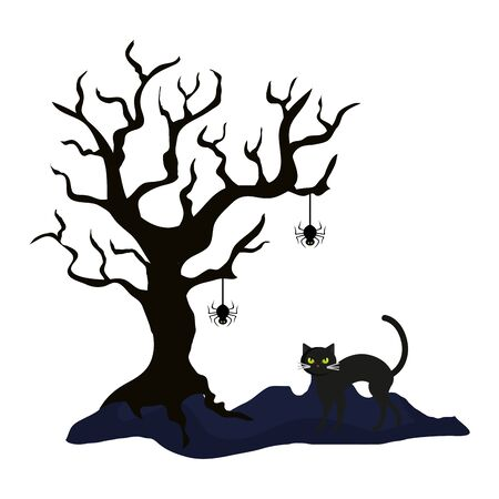 dry tree with cat and spider of halloween vector illustration design Stock Illustratie