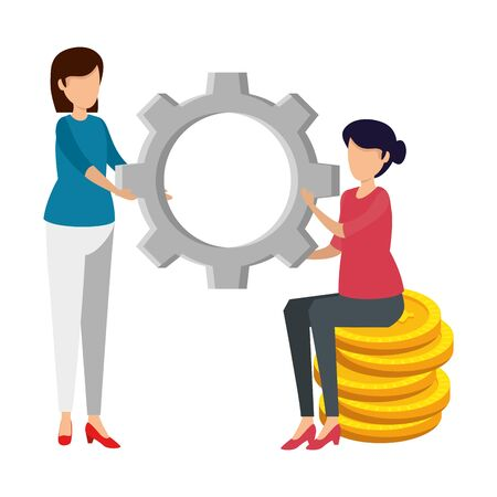 women lifting gear with coins dollars vector illustration design Иллюстрация