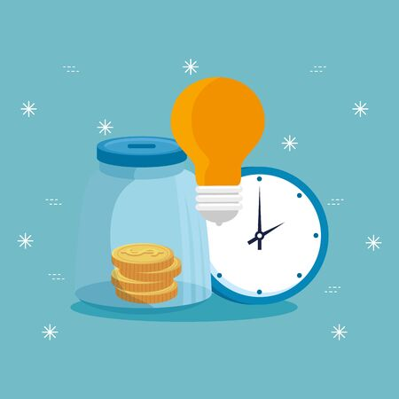 moneybox with light bulb and clock vector illustration design 向量圖像