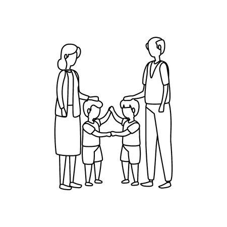 cute grandparents couple with grandsons vector illustration design