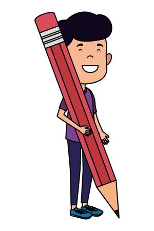 happy student boy writing with pencil vector illustration design