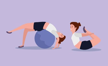 fitness women training yoga with ball over purple background, vector illustration