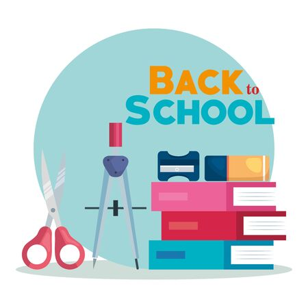 books with compass pencil and scissors with sharpener and eraser to back to school vector illustration Ilustração