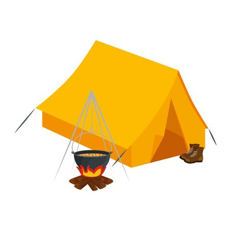 tent camping with wood fire and boots vector illustration design