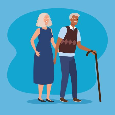 old couple with casual clothes and walking stick over blue background, vector illustration