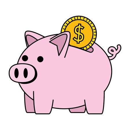 piggy savings with coin money vector illustration design